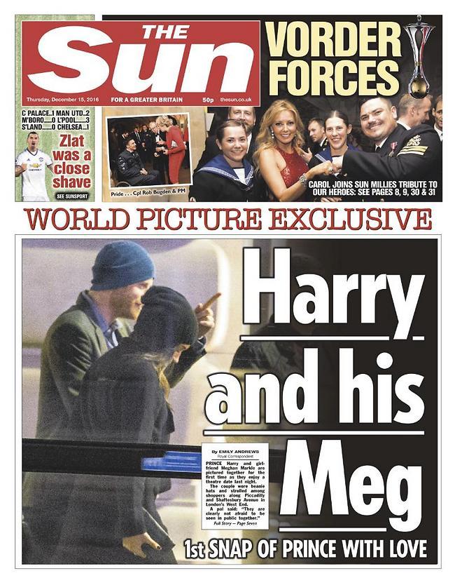 שער העיתון The Sun שחשף את התמונות הראשונות