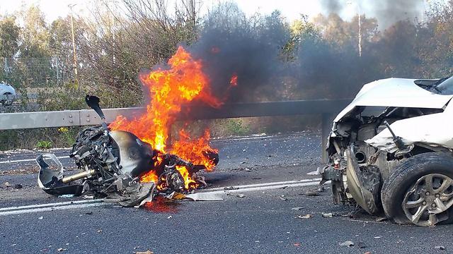 זירת התאונה בנתיבי איילון