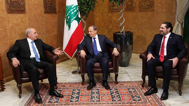 עוון אל-חרירי וברי. נפגשו כדי לגנות את ישראל (צילום: רויטרס)