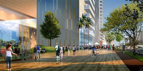 בהדמיות, הרחוב הראשי של קרית אונו מבטיח שינוי דרמטי (הדמיה: משה צור אדריכלים)