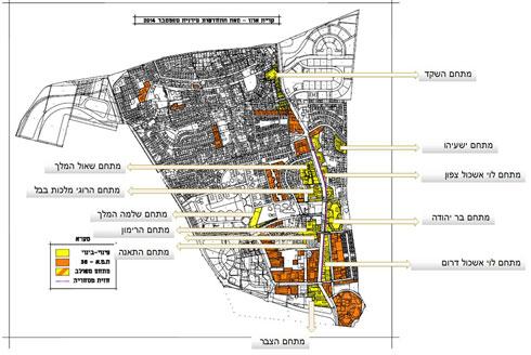 תוכנית הפינוי-בינוי בעיר היא גרנדיוזית, מהפך של ממש (מפה: באדיבות עיריית קרית אונו)