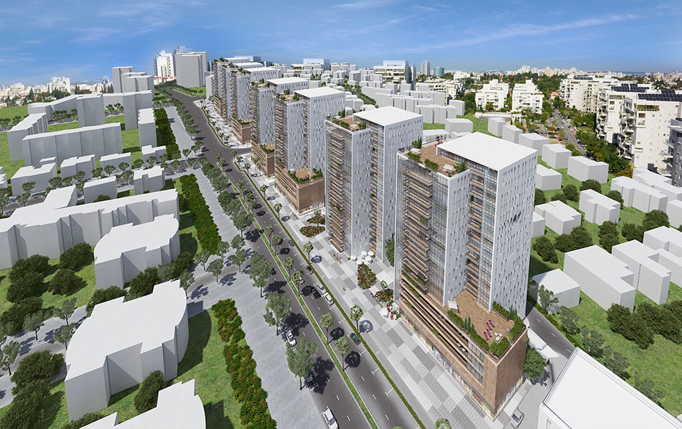 רחוב לוי אשכול, הרחוב הראשי של קרית אונו, כפי שהוא אמור להיראות בעתיד. במקום מבנים נמוכים - חזיתות זכוכית, בתי קפה ובתי עסק