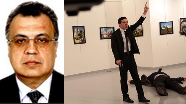 מימין: החמוש שירה בתוך הגלריה. משמאל: השגריר קרלוב (צילום: AP)