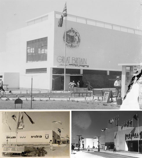 """שלושה מביתני המדינות המשתתפות: בריטניה, איטליה ופולניה (צילום: לע""""מ, G. Eric and Edith Matson Photograph Collection, יהושע קלינגהופר)"""