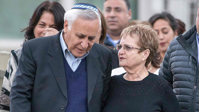 Katsav with his wife after his release from prison (Photo: AFP)