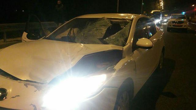 """הרכב שפגע בהולכת הרגל ליד זכרון יעקב, אמש (דוברות מד""""א) (דוברות מד"""