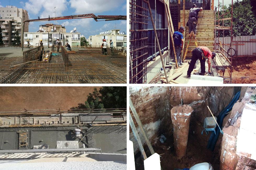תמונות מהעבודות בבניין. חלק מהדיירים לא אהבו את הבטון, מודה האדריכל, ''אבל בסוף גם הם הבינו את האיכויות'' (צילום: גיא אייזיק, ברד פינצ'וק)