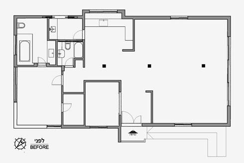 תוכנית הדירה לפני השיפוץ. סלון עצום, מטבח נפרד, חדר שינה אחד ועוד חצי (תוכניות: ורד בונפיליולי ופנינית שרת אזולאי)