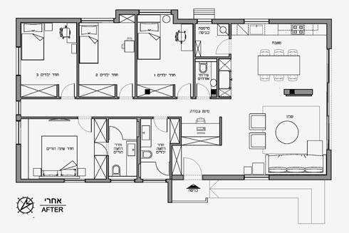 תוכנית הדירה אחרי השיפוץ, עם ארבעה חדרי שינה ושני חדרי רחצה (תוכניות: ורד בונפיליולי ופנינית שרת אזולאי)