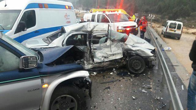 תאונה קשה נוספת - כביש 784 ליד שורשים (צילום: מרכז רפואי חיאן) (צילום: מרכז רפואי חיאן)