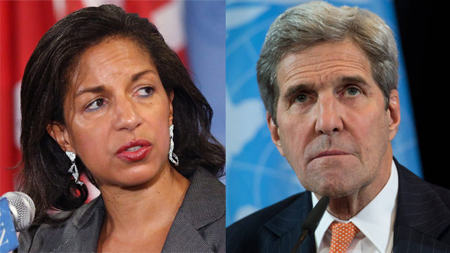 Rice (L) and Kerry (Photos: EPA; AFP)