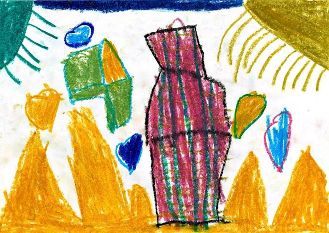 הציור של ליהי: דחוס וצפוף. קווים לאורך הבית, שמסמלים מתיחות רגשית