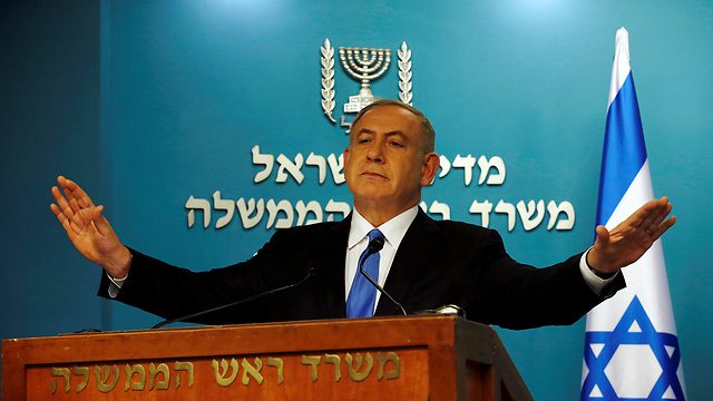 Prime Minister Netanyahu speaking with the press (Photo: Reuters) (Photo: Reuters)
