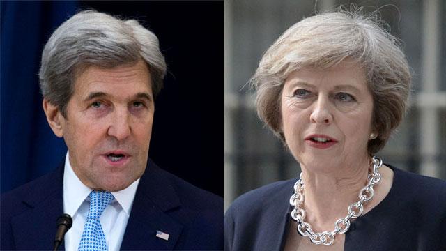 חילוקי דעות. תרזה מיי וג'ון קרי (צילום: AFP, EPA) (צילום: AFP, EPA)
