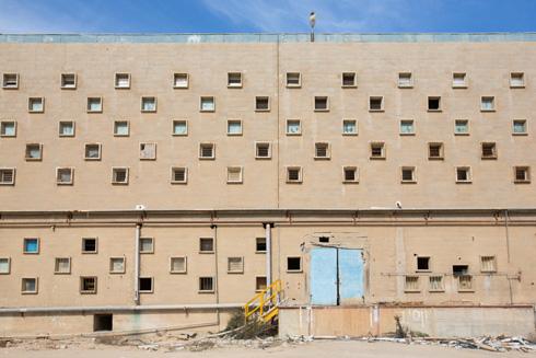 מסגרות הבטון של החלונות בולטות מקו החזית ומצלות מפני השמש המדברית (צילום: דור נבו)