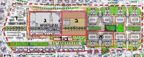 הצעת היזם: אגף מזרחי (א) ייהרס וייבנו בו שני  מגדלי מגורים. האגף המרכזי (ב וב-1) יהיה ציבורי. האגף המערבי (ג) יוקדש למסחר ותעסוקה, וממערב לו (ד) יהיה חניון (שרטוט: מרש אדריכלים)