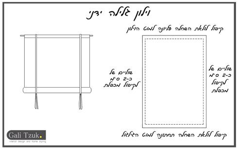 תרשים הכנת הווילון (שרטוט: גלי צוק)