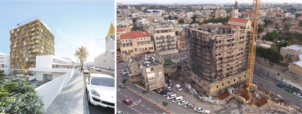 המצב כיום והדמיית הבניין המוזהב העתידי. ''הגוון הבארוקי מנטרל את הזהות הבניינית'', מסביר האדריכל אילן פיבקו (צילום: Take -Air צילום אוויר, הדמיה:איקו)