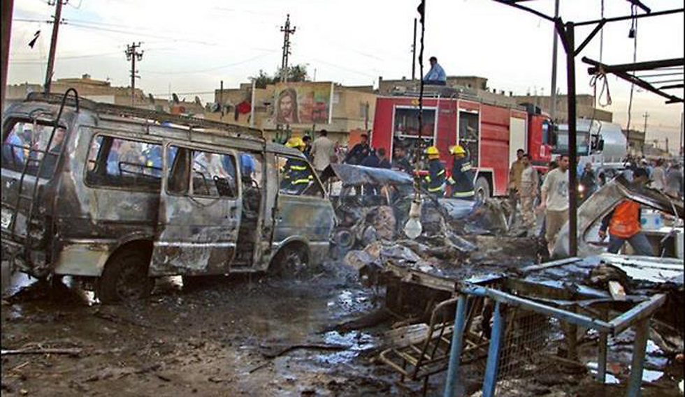 The scene of an attack in Baghdad, in which 55 people were murdered, carried out by a Palestinian terrorist.