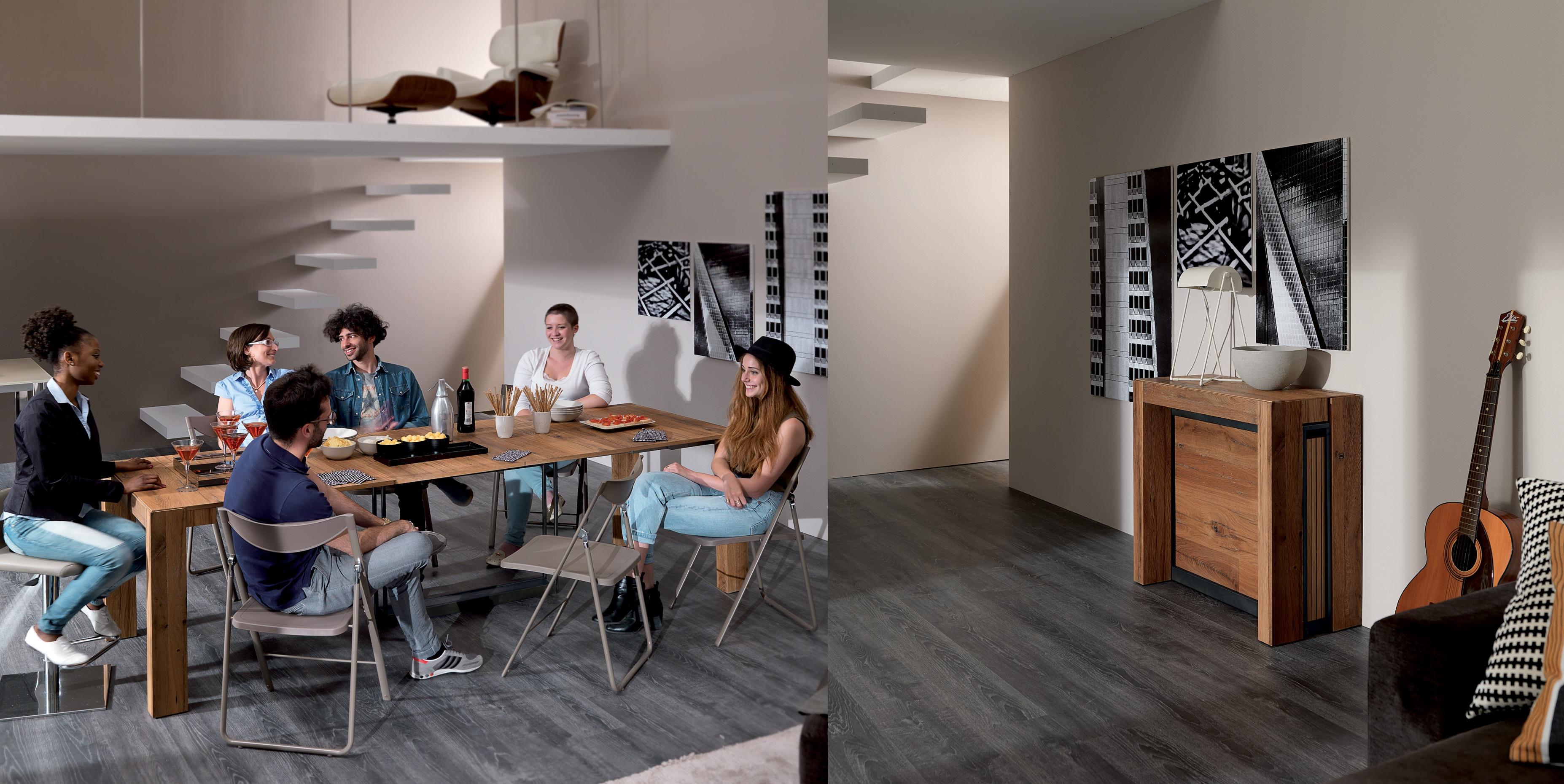 ביומיום: שידה צרה, כשבאים אורחים: פינת אוכל. באדיבות Milano smart living   (צילום: punto zero)