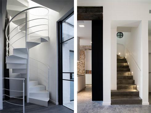 מימין: המדרגות מקומת הכניסה לקומת הילדים. משמאל: המדרגות מקומת הילדים לקומת ההורים (צילום: עדי גלעד)