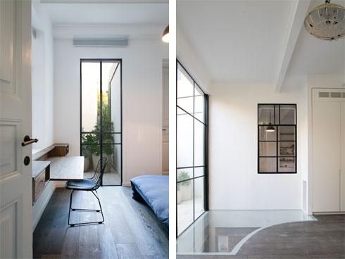 מימין: רצפת הזכוכית בחדר המשפחה בקומה העליונה. משמאל: אחד מחדרי הילדים, שניהם בגיל העשרה (צילום: עדי גלעד)