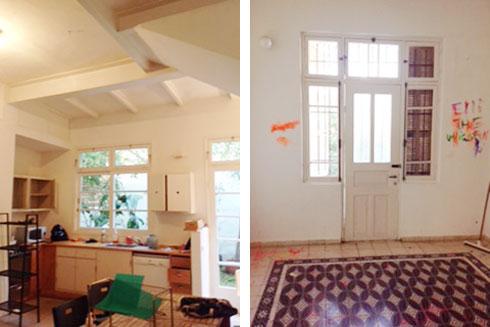 הבית, לפני השיפוץ. האדריכלית נגה פאוסט שמרה על המרצפות המקוריות בכל מקום שאפשר היה (צילום: עדי גלעד)