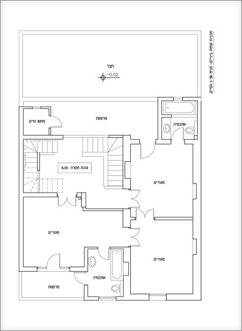 תוכנית הקומה העליונה לפני השיפוץ (תוכנית: נגה פאוסט)