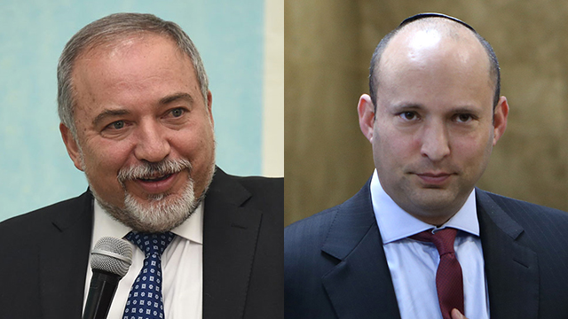 Avigdor Lieberman (L) and Naftali Bennett (Photo: Alex Kolomoisky, Yair Sagi)