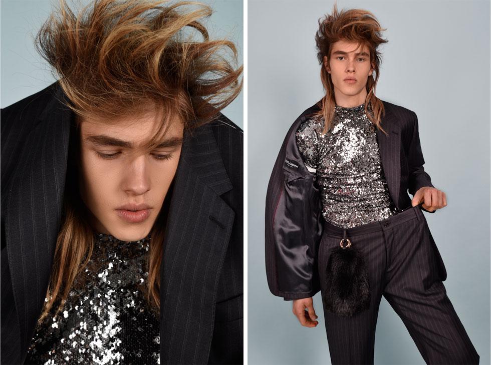 חליפה, דולצ'ה & גבאנה בבוטיק אמור; חולצת פאייטים וקישוט זנבות מפרווה סינתטית - ברשקה (צילום: אביב אברמוב)