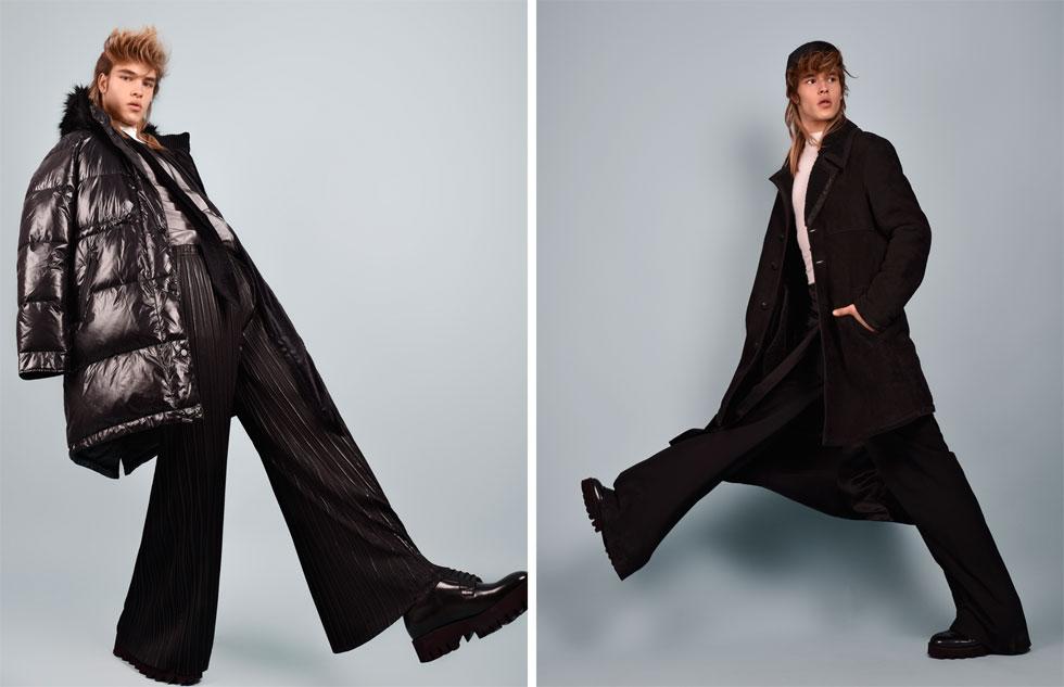 מימין: חולצה, פול אנד בר; מעיל ונעליים - דיזל; חצאית, טופשופ; מכנסיים, זארה; כובע, H&M. משמאל: מעיל, מכנסיים וצעיף - זארה; חולצה ונעליים- H&M; חולצת רשת, פול אנד בר (צילום: אביב אברמוב)