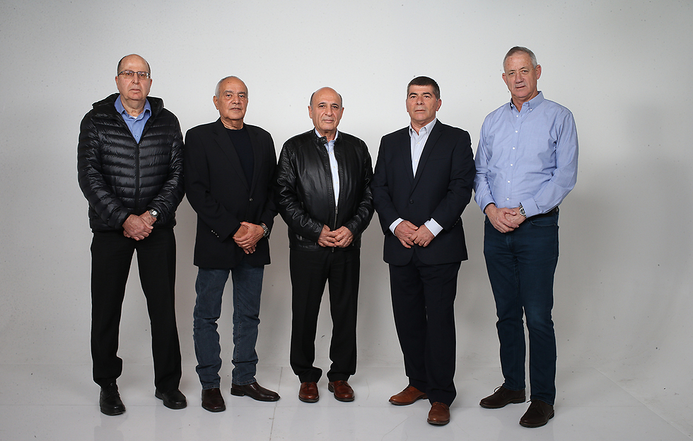 The former IDF chiefs: Ya'alon, Halutz, Mofaz, Ashkenazi and Gantz (Photo: Tomeriko)