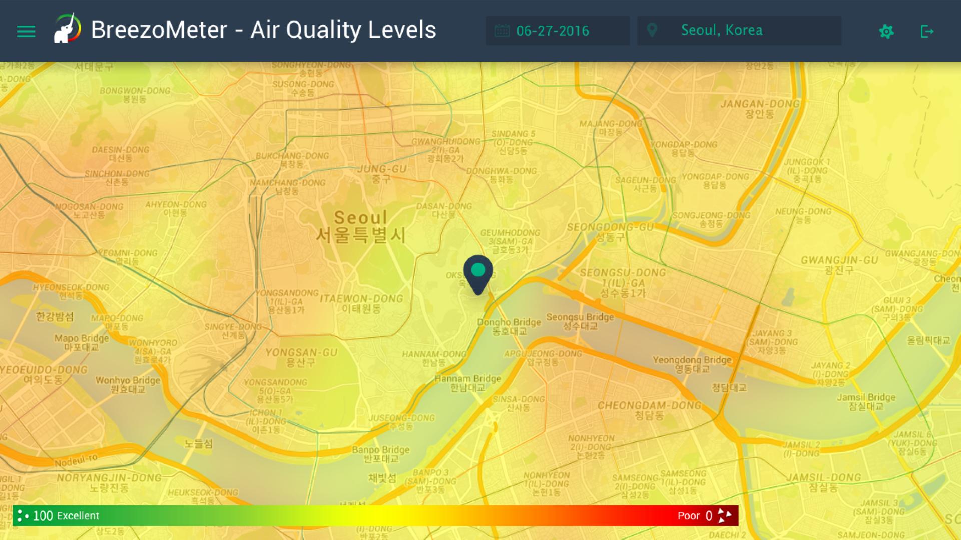 תמונת זיהום האוויר בדרום קוריאה (מתוך האפליקציה) ()