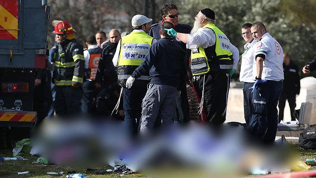 זירת הפיגוע בירושלים, היום (צילום: AFP) (צילום: AFP)