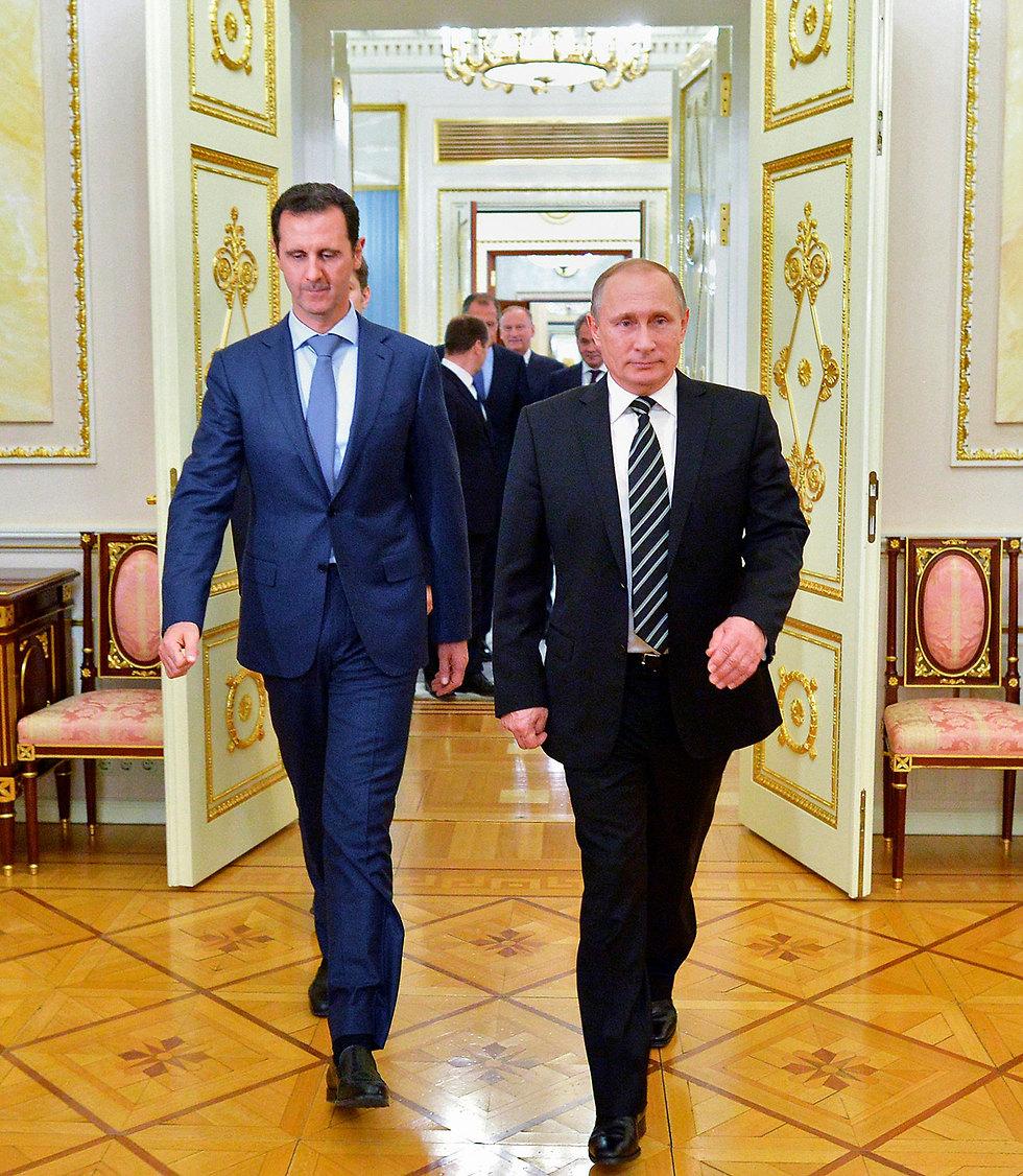 הנשיא הסורי לא ממש שולט בארצו. פוטין ואסד (צילום: AP)