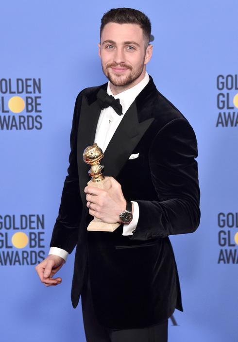 """זכה בפרס שחקן המשנה בטקס גלובוס הזהב על תפקידו ב""""יצורים ליליים"""". אהרון טיילור-ג'ונסון (צלום: Gettyimages)"""