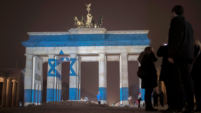 Brandenburg Gate, Monday. Israel is entering the family of nations (Photo: AFP)