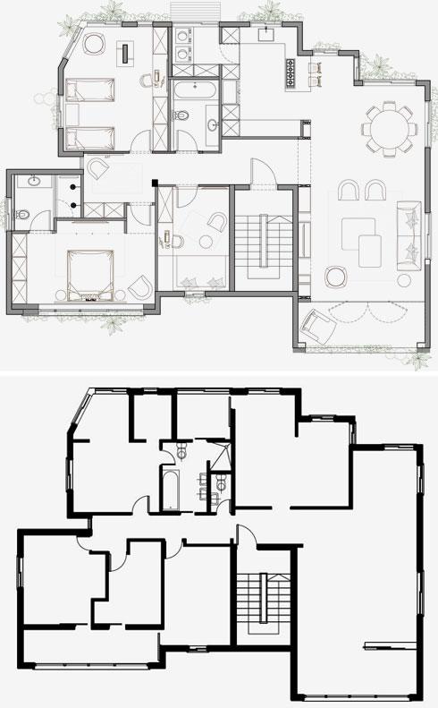 תוכנית הדירה אחרי השיפוץ (למעלה), ולפניו. חדר השינה וחדר הילדים תופסים כל אחד שטח של שני חדרים במקור (תוכניות: אושיר אסבן)