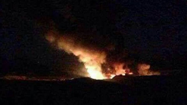 Fire in military air base in Syria after the alleged attack (Photo: Reuters)