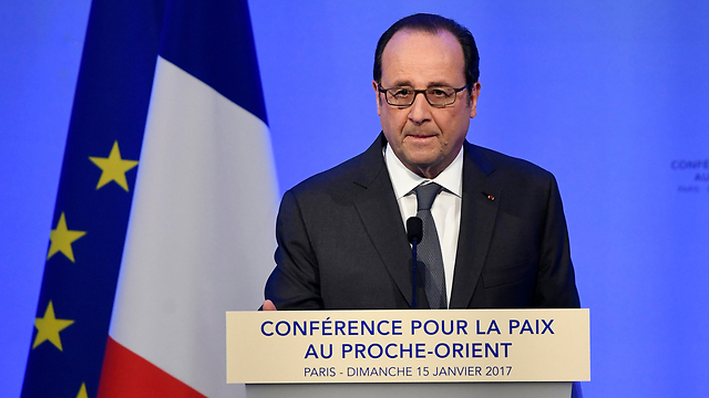 President Hollande addressing the conference.