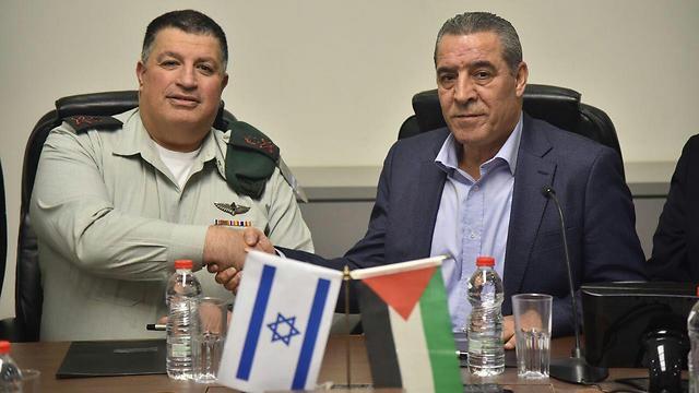 Mordechai and al-Sheikh (Photo: COGAT Spokesperson)  (Photo: COGAT Spokesperson)