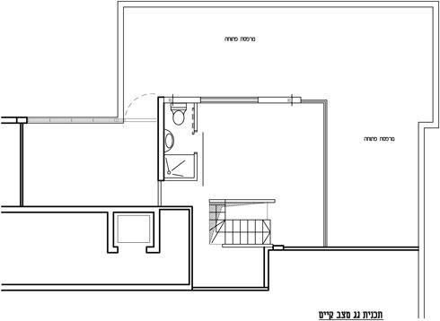 תוכנית קומת הגג לפני השיפוץ (תוכנית: אדריכלות ועיצוב ורד בלטמן כהן)