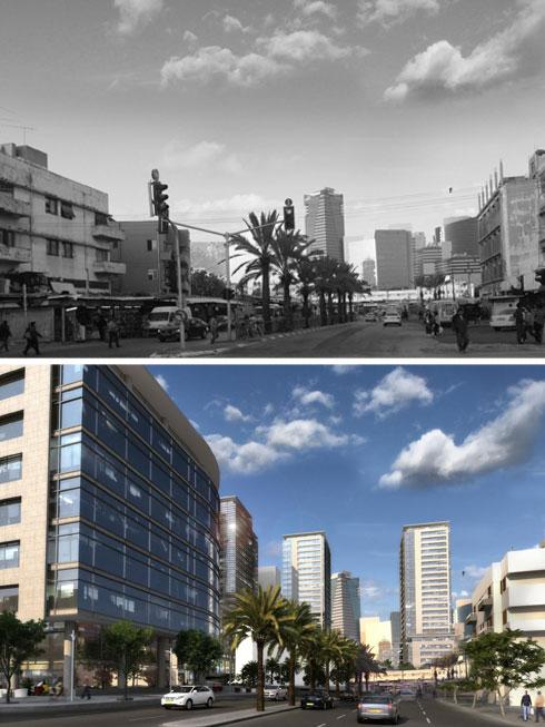 היום (למעלה) ובעתיד (בהדמיה התחתונה): אלף דירות אמורות להיבנות ברחובות שמקיפים את התחנה הישנה (הדמיה: משרד קייזר אדריכלים ומתכנני ערים)