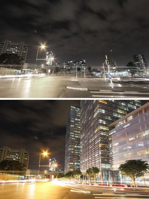 היום (למעלה) ובעתיד (בהדמיה התחתונה): מגדלי משרדים בגובה של עד 30 קומות לאורך דרך בגין (הדמיה: משרד קייזר אדריכלים ומתכנני ערים)