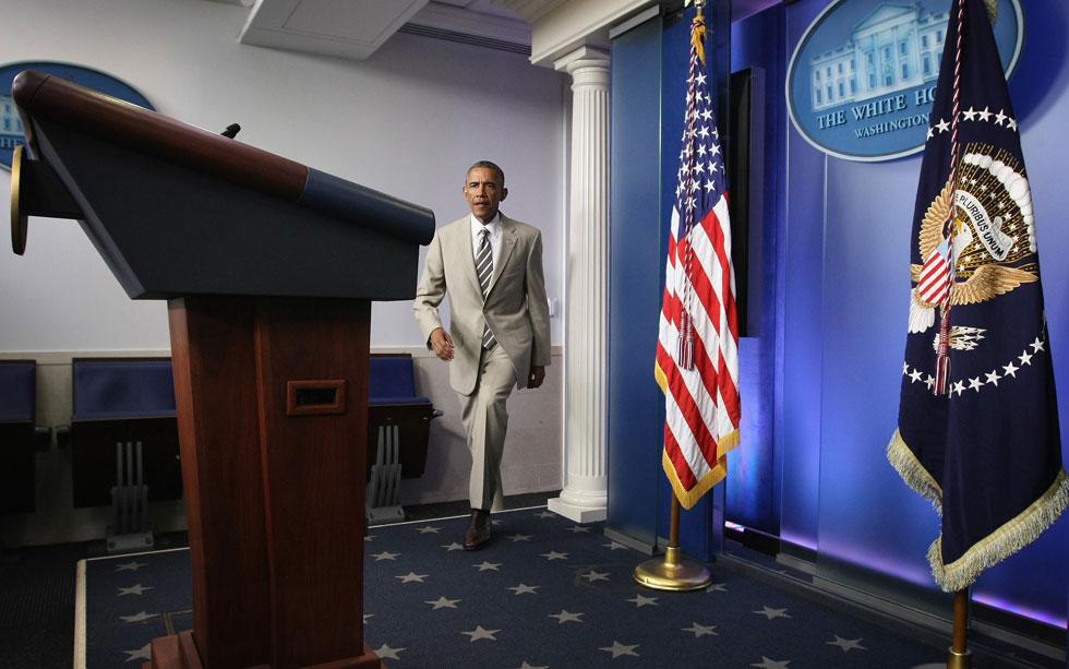 הפרשנים הפוליטיים הזדעזעו. החליפה הבהירה של אובמה (צילום: Gettyimages)