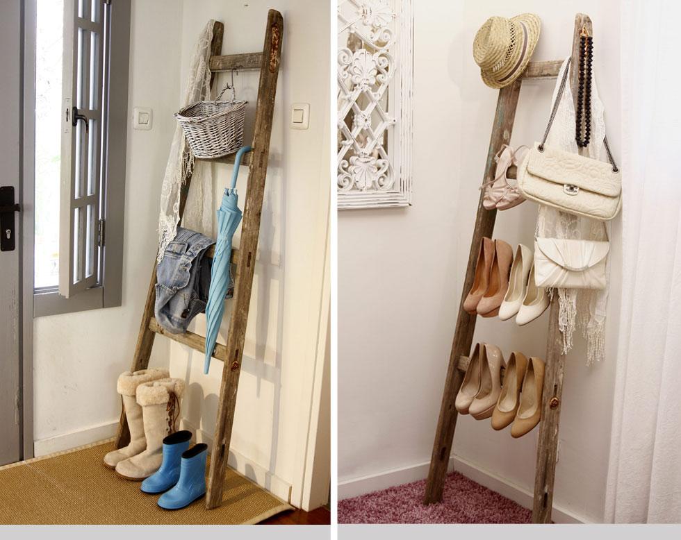 מימין: בחדר הארונות סולם יכול הוא פתרון מוצלח לאחסון נעלי עקב, תיקים, צעיפים ושרשרות שנמצאים בשימוש יומיומי. משמאל: בכניסה לבית, מאחורי הדלת, ניתן לתלות מטריות, צעיפים וז'קטים שלובשים לעתים תכופות. ועל הרצפה להניח נעליים או מגפיים (צילום: אירית זילברמן)