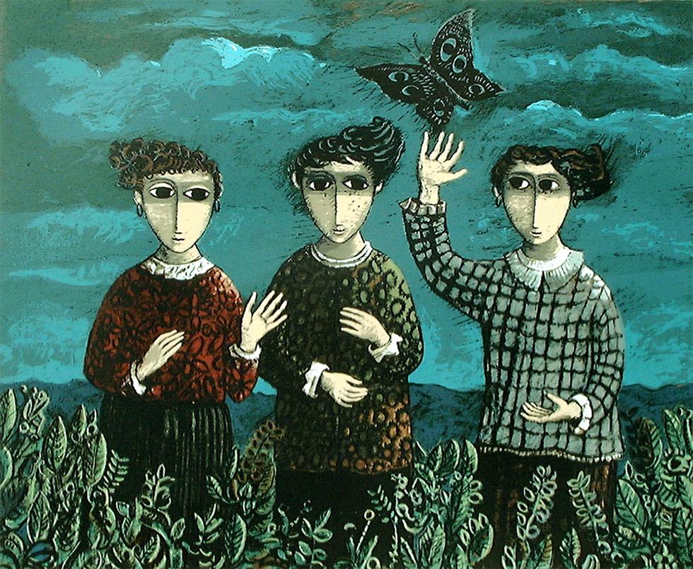 """""""שלוש הבנות והפרפר"""". ליטוגרפיה מאת יוסל ברגנר העוסקת בהוויה החלוצית (ציור: יוסל ברגנר ) (ציור: יוסל ברגנר )"""