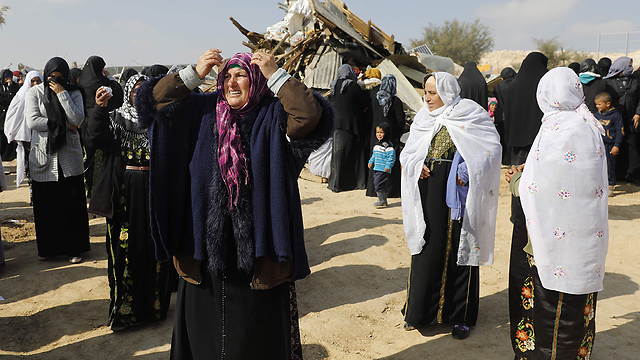 Umm al-Hiran residents following home demolition last week (Photo: AFP)