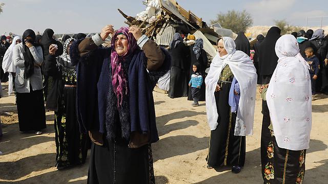 Umm al-Hiran residents following home demolition last week (Photo: AFP)