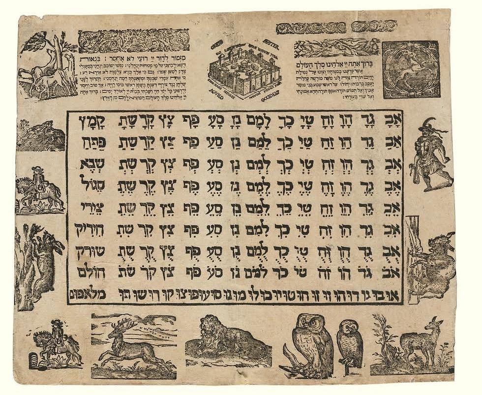 """כרזת לימוד א""""ב בפרנקפורט משנת 1650 (צילום: הספרייה הלאומית)"""